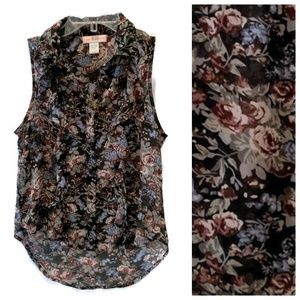 Band of Gypsies Floral Button Sleeveless Top - XS
